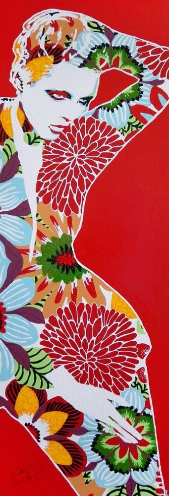 Exoticchic art peinture couleurs fleurs acrylique amylee for Peinture couleur