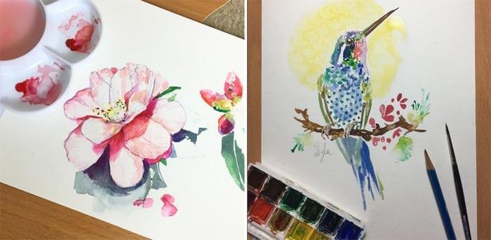 bird-flowers-watercolour