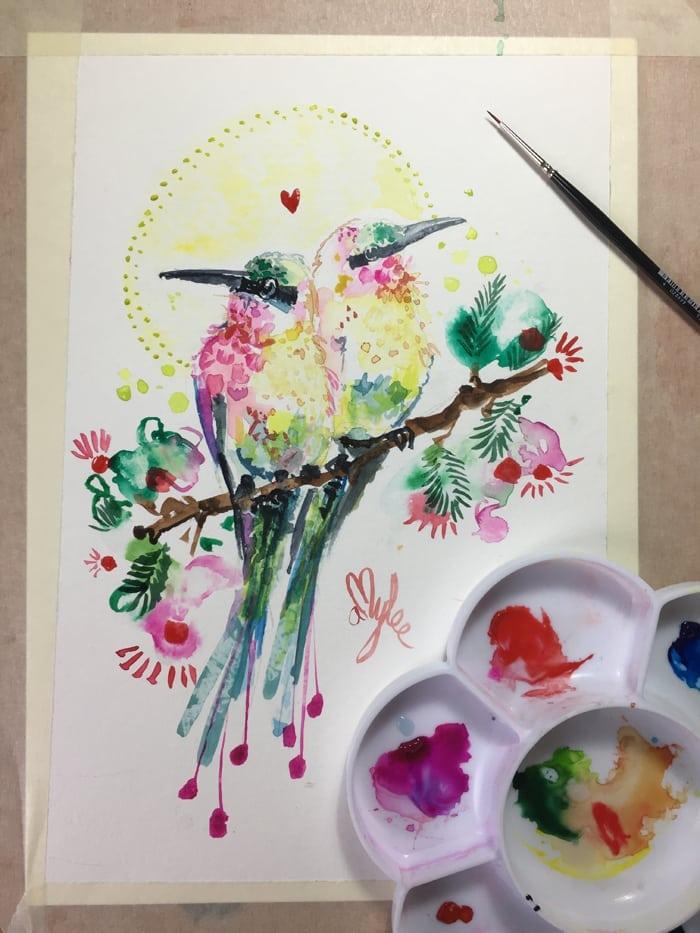 oiseau-aquarelle-artiste-peintre